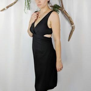 Black Halo Jackie O cut out black silk dress #0466